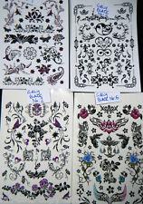 1 x Sheet Black Unisex Arty Designs Butterflies Flowers Temporary Tattoos Uksell