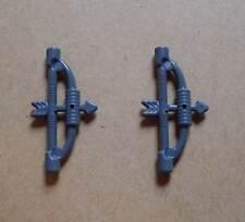 2 Lego Bogen ( Bögen Pfeile ) grau Ritter Pfeil und Bogen Waffen Neu