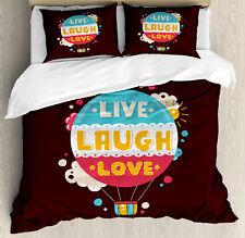 Love Duvet Cover Set with Pillow Shams Air Balloon Cheerful Retro Print