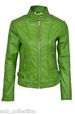 Gina Donna 3061 Verde Moda Retro Stile Biker Giubbotto Moto In Pelle