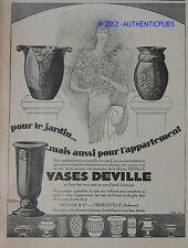 PUBLICITE DE 1927 VASES DEVILLE EN FONTE EMAILLEE CHARLEVILLE ARDENNES ART DECO