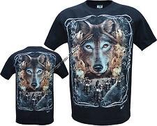 Wolf Pack Loups biker native american indian lueur dans l'obscurité T-Chemise M-XXL