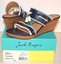 New $148 Jack Rogers Camilla Midnight Blue/White Stacked Wedge/Platform Sandal