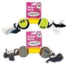 DOBLE Pelota de Tenis Juguete para perro schleuderball Cuerda de juego cuerda