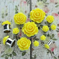 Yellow Acrylic Rose Stainless Steel Single Flare Plugs Body Piercing Jewelry