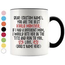 Personalized Koolie Dog Mom Coffee Mug, German Koolie Owner Women Gift
