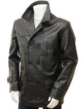 Leather Trench Coat Men Winter Jacket Overcoat Lambskin Custom Made Size S M L