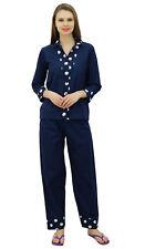 Bimba Women's Pyjamas Sets Nightsuit Sleepwear Cotton Buttondown Shirt & pants