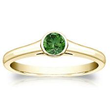 Diamantring 0.50 Karat grüner Solitär 750/18K Gelbgold + Zertifikat
