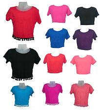 Girls Crop Top Plain Short Sleeve Summer 7 8 9 10 11 12 13 Yrs