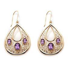 Technibond 3 Stone Filigree Gemstone Dangle Earrings 14K Yellow Gold Clad Silver