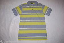 Mens Polo Shirt GRAY & LIME GREEN STRIPE Canyon Club M 38-40 L 42-44 XL 46-48