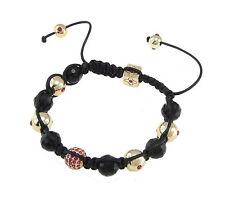 Black & gold shamballa bracelet with rhinestones & 10mm micopave beads