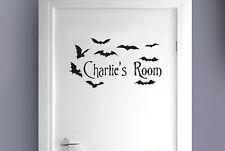 Personalised flying bats kids room door Wall Stickers Vinyl Art Decals