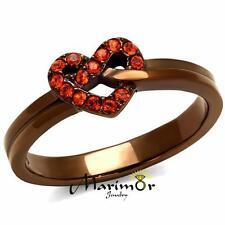 Light Coffee Stainless Steel & Orange Crystal Heart Fashion Ring Womens Sz 5-10