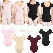 Ladies Womens Short Sleeve Leotard Gymnastics Dance Ballet Uniform Top Costume