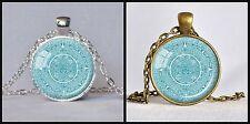 Vintage Blue Pendant Necklace Aztec Mayan Calender Astronomy Archaeology Retro
