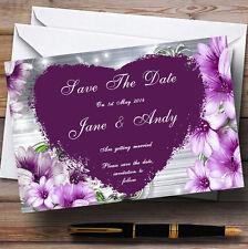Fleurs violettes coeur personnalisé mariage save the date cards