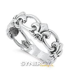 .925 Sterling Silver Fleur de Lis Lily Flower Saints Ring Size 5 6 7 8 9 10 NEW