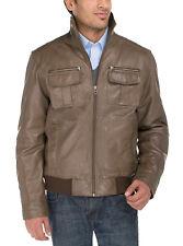Luciano Natazzi Mens Trim Fit Lambskin Leather Blast Washed Moto Jacket