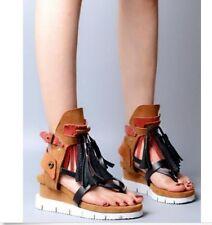 Womens Shoes Sandals Suede Tassels Fringe Vintage Flat Heels Flip Flops Thongs