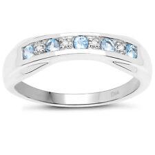 Argento Sterling 6mm Larghezza Topazio Blu e Diamanti