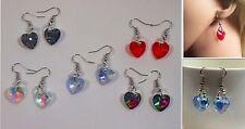 Sparkly Glass Heart Earrings (NB047)