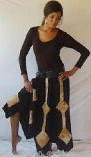 black brown skirt maxi M L XL OS 1X 2X 3X 4X 5X 6X patch hippy boho asym