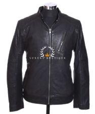 Rider Black Men's Smart Vintage Style Real Soft Lamsbkin Leather Jacket