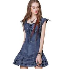 2018 womens vintage denim Embroidered Dress denim short Skirt mini Dress