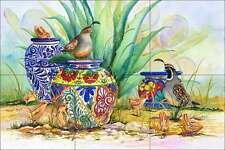 Ceramic Tile Mural Backsplash Libby Southwest Quail Bird Agave Art SLA020