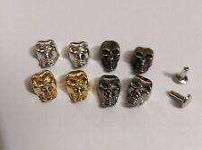"""Pkg of 5 SKULLS 3D Metal Rivet Studs 5/8"""" x 3/8"""" (15mm) Crafts (1900)"""