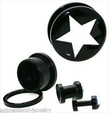 Pair Acrylic Black Screw Tunnel Stash Ear Plugs CREAM White Star On Black Gauges