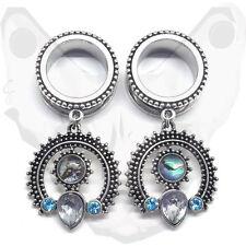 Brass Gem Pendant Dangle Earring Tribal Ear Plug Shell Gauge Crystal Indian Cute