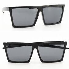 Large Black Frame Rectangular Flat Top Retro Pilot Sunglasses Futuristic Unisex