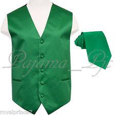 Emerald Green Solid Tuxedo Suit Vest Waistcoat and Neck tie Prom Wedding 10JJ