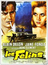 Les felins Alain Delon Jane Fonda vintage movie poster
