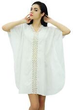 947a3eeb63 Bimba Womens White Cotton Kaftan Short Caftan Sheer Lace Front Beach Coverup