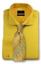 Dress Shirt Steven Land Spread Collar Square French Cuff-Yellow-TA1747-YE