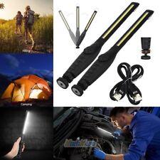 2 USB Rechargeable COB LED Emergency Car Work Light Flashlight Magnetic Portable