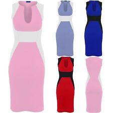 Women's V Neck Black Contrast Sleeveless Knee Length Midi Party Bodycon Dress