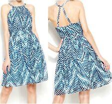 NWT Calvin Klein Chiffon Dress Chain Pleated  Blue Cream Black P  2 6 4 8 10 12