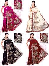 Bridal Bollywood Embroidery Sari Saree Costume DANSE DU VENTRE ROBE Choose Color