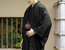 Japanese Mens Kimono HAORI Jacket Coat Set Black Washable Japan with Tracking