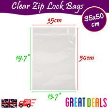 35x50 cm Grip Seal Zip Lock Self Press Resealable Clear Plastic Bags 1 - 100,000