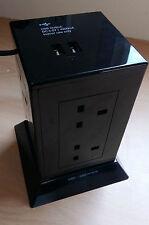 Black White Extension Power Hub 8 Sockets 2 USB Points 1.5m Lead Surge Protect