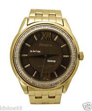 NEW Mens Armitron Swarovski Gold Sainless Steel Large Watch