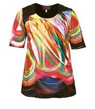 Sempre Piu ❤ kurzarm Shirt Damen Schwarz Bunt große Größen  Viskose elegant