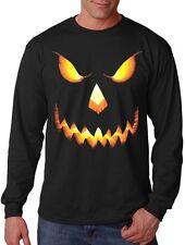 Men's Halloween Pumpkin Skull Face Long Sleeve Black T Shirt Horror Scary Evil