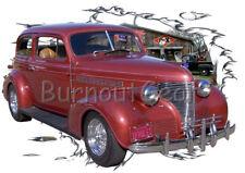 1939 Red Chevy Sedan Custom Hot Rod Garage T-Shirt 39 Muscle Car Tees